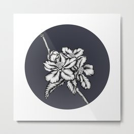 Apple blossom by ink and dark blue Metal Print