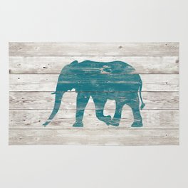 Rustic Teal Elephant on White Painted Wood A222a Rug