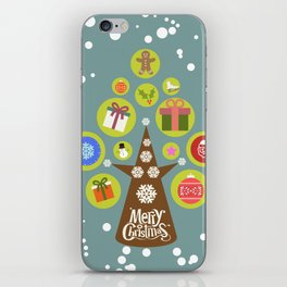 Merry Christmas with a Christmas tree iPhone Skin