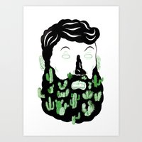 cactus Art Prints featuring Cactus Beard Dude by David Penela