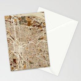 Portland Oregon City Map Stationery Cards