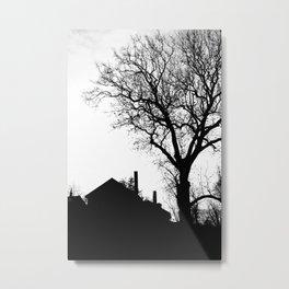 Tree and House Silhouette Metal Print