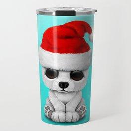 Christmas Polar Bear Wearing a Santa Hat Travel Mug