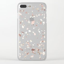 Rose Gold on White Terrazzo Clear iPhone Case