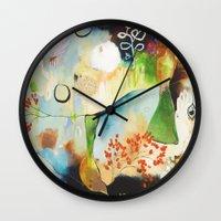 "flora bowley Wall Clocks featuring ""Rainwash"" Original Painting by Flora Bowley by Flora Bowley"