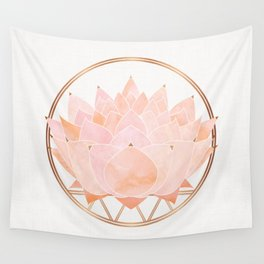 Blush Zen Lotus ~ Metallic Accents Wall Tapestry