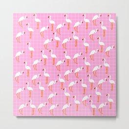 Cute Flamingo Print on Pink Background Metal Print