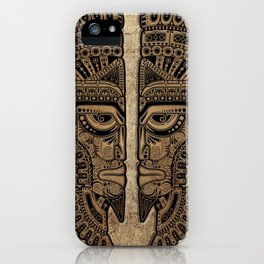 Stone Aztec Twins Mask Illusion iPhone Case