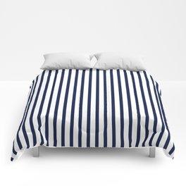 Navy Blue Vertical Stripes Comforters