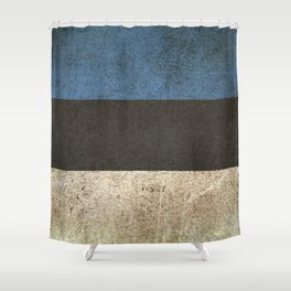 Old and Worn Distressed Vintage Flag of Estonia Shower Curtain