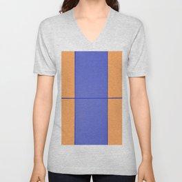August - Orange and Blue Unisex V-Neck