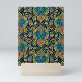 Boho Paisley Pattern in Blue, Orange, Yellow & Green Mini Art Print