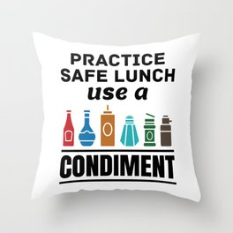 Lunch Lady Cafeteria Worker Practice Safe Lunch Use a Condiment Throw Pillow