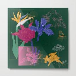 Dark Fall Flower Pattern for Home Goods Emerald Green Magenta Metal Print