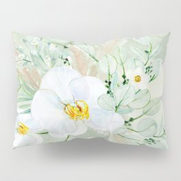 White Orchid Series: Orchid in Watercolor Pillow Sham