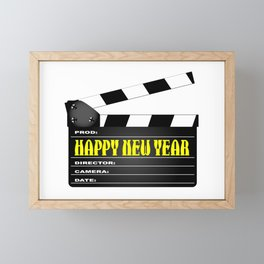 Happy New Year Clapper Framed Mini Art Print