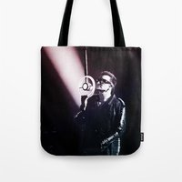 u2 Tote Bags featuring U2 / Bono 4 by JR van Kampen