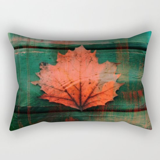Rusty red dried fall leaf on wooden hunter green beams Rectangular Pillow