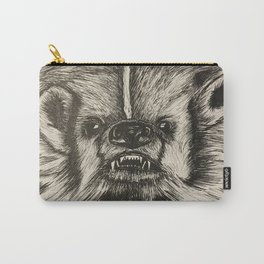 Badger Bad Original b/w ink Carry-All Pouch