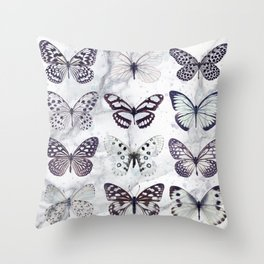 Black and white marble butterflies Throw Pillow