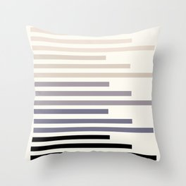 Grey Minimalist Abstract Mid Century Modern Staggered Thin Stripes Watercolor Painting Throw Pillow