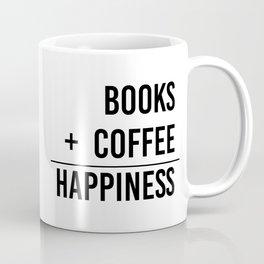 Books + Coffee = Happiness - Typography Coffee Mug