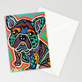 Eddie Designer Dog Puppy Pet Lover Owner Bright Colorful Bright French Bulldog Pug Terrier Fun   Stationery Cards