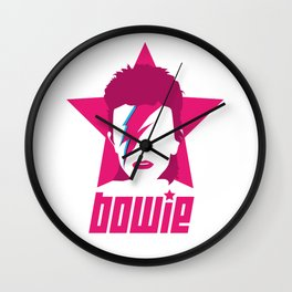 Pink Star Bowie Wall Clock