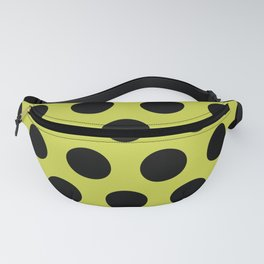Mid Century Modern Polka Dots 552 Black and Chartreuse Fanny Pack
