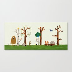 The forest animals are visited by Peacock Canvas Print