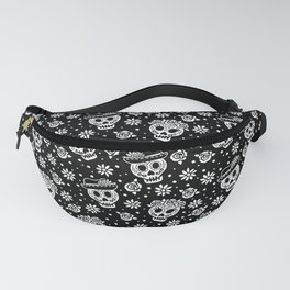 Black and White Day of the Dead Sugar Skulls Fanny Pack