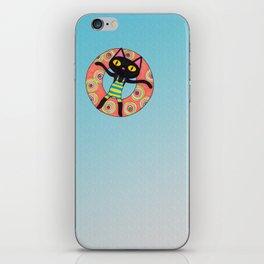 Black Cat Tubing at the Beach iPhone Skin
