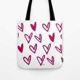 Lovely hearts - fuchsia heart pattern Tote Bag