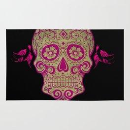 Sugar Skull Green and Pink Rug