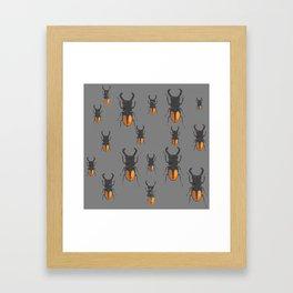 NATURE LOVERS STAG HORNED BEETLES BUG GREY ART M Framed Art Print