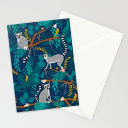 Lemurs on Blue Stationery Cards
