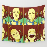 faces Wall Tapestries featuring Faces by Pericles Junior