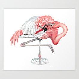Fashionable Flamingo Art Print