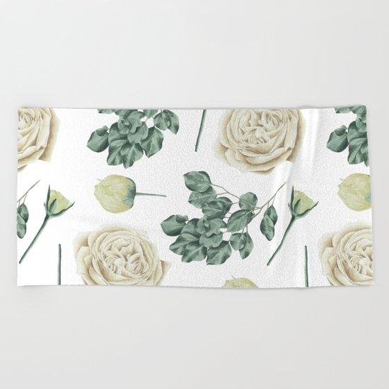 Flower Shop Ivory Cream Roses Pattern Beach Towel
