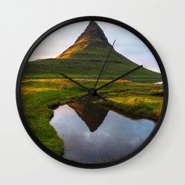Kirkjufell Reflection Wall Clock