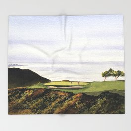 Torrey Pines South Golf Course Hole 3 Throw Blanket