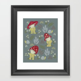 Melancholy Mushrooms Framed Art Print