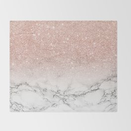 Modern faux rose gold pink glitter ombre white marble Throw Blanket