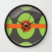 pokeball Wall Clocks featuring Dusk Pokeball by Pi Design Prints