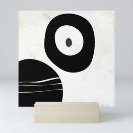 shapes black brush stroke white abstract minimal art Mini Art Print