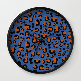 Jungle - Leopard Pattern Blue Wall Clock