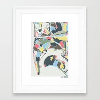 san diego Framed Art Prints featuring San Diego by Studio Tesouro