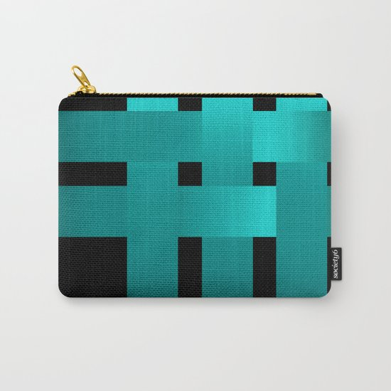 Abstraction .Weave turquoise satin ribbons . Patchwork . Carry-All Pouch