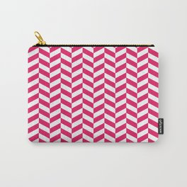 Raspberry Red Herringbone Pattern Design Carry-All Pouch