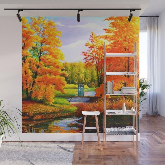 Tardis Art Bridge Forest Autumn Wall Mural